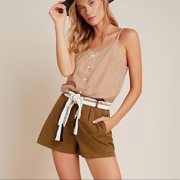Anthropologie Kelyn Pleated High Rise Shorts NEW 4